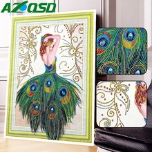 AZQSD Special Shaped Diamond Mosaic Peacock Princess 5D DIY 40x50cm Painting Portrait Picture Of Rhinestones