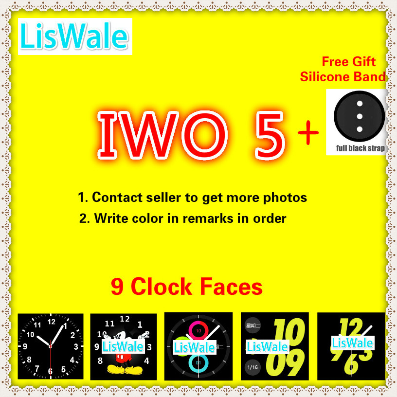 LisWale IWO 5 Wireless Charger Bluetooth Smart Watch 9 Clock Faces Heart Rate Monitor Music Watch With An Additional free Strap iwo 5 wireless charger bluetooth smart watch with heart rate ecg 9 clock faces watch pedometer for android ios phone pk iwo 3 2