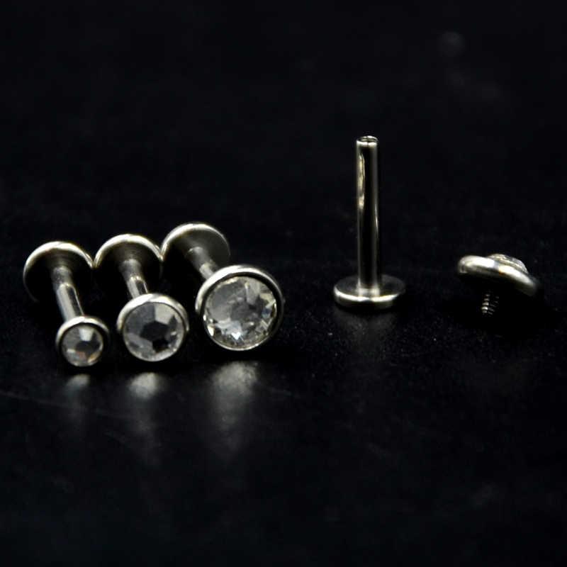 คู่ผ่าตัดเหล็กแบน CZ อัญมณีหูกระดูกอ่อน Tragus Helix Piercing Labret Studs แหวนภายในด้าย 16g Body เครื่องประดับ
