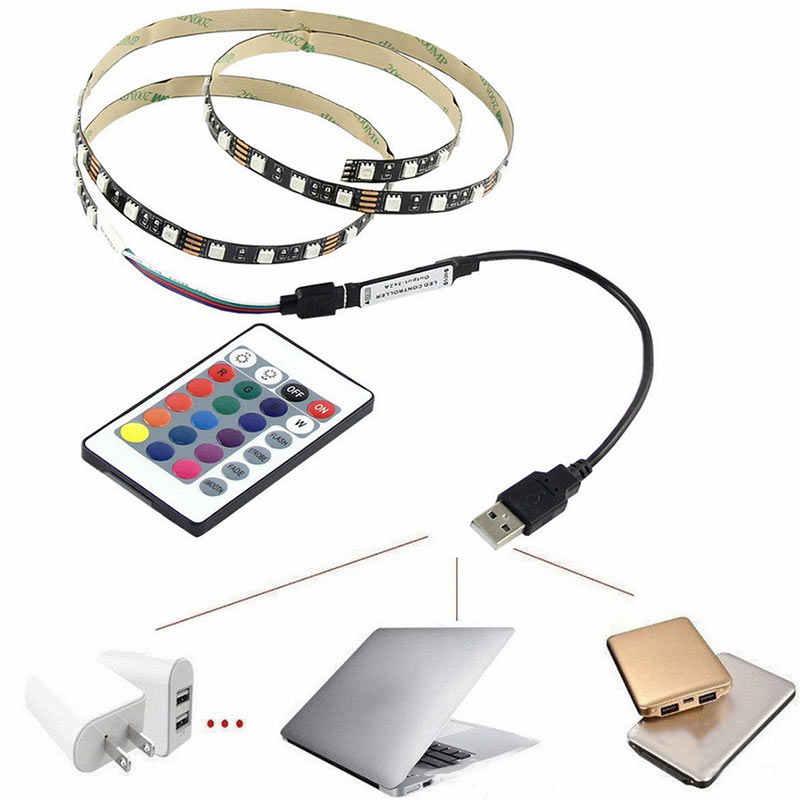 """Terbaik"" 5050 USB Mood Light RGB Multi Warna LED Lampu Strip TV Backlight 24 Tombol Remote Control 889"