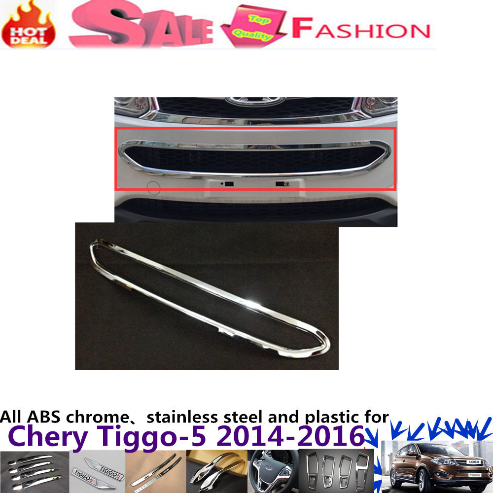 For Chery Tiggo 5 2014 2015 2016 Car body styling cover protect detector ABS chrome trim Front up Grid Grill Grille Around 1pcs for peugeot 301 2013 2014 2015 2016 car styling cover detector sticker abs front license grille frame chrome trim strips 1pcs