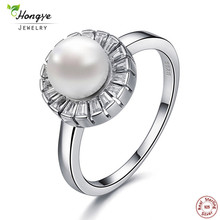 Hongye Top Quality AAAA Elegant 925 Sterling Silver White Freshwater Pearl Ring Big Fashion Style For Women Natural Pearl Ring