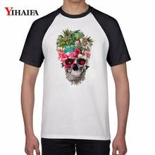 New Fashion Men Women T Shirts Floral Skull 3D Print Casual Graphic Tee Tops Cotton t shirt Harajuku Hip Hop Unisex Tshirt men skull and floral print tee