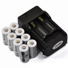 8PCS 3.7V 2200mAh 16340 CR123A Rechargeable Li-ion Battery + 1PCS 2-slot Travel