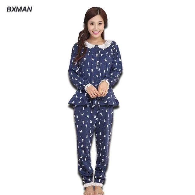 BXMAN Marca Mulheres Geométrica Turn-down Collar Completo Manga Pijamas 100% Pijama de Algodão Pijamas Para Casais Casa Terno 145