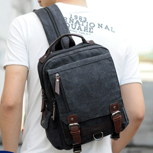 Image 3 - Scione Small Canvas Backpack Men Travel Back Pack Multifunctional Shoulder Bag Women Laptop Rucksack School Bags Female Daypack