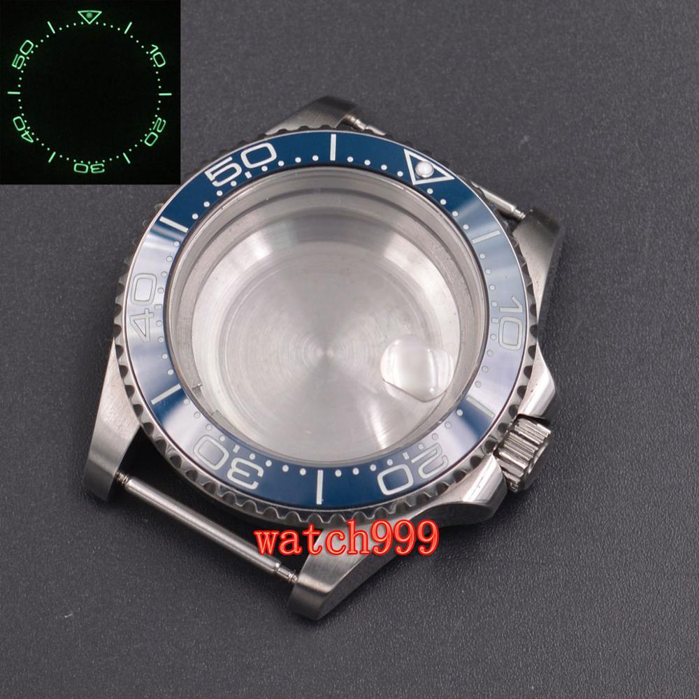 40mm parnis Sapphire Glass Luminous Ceramic Bezel Steel Watch Case fit ETA 2824 2836 DG2813 Miyota 8215 movement
