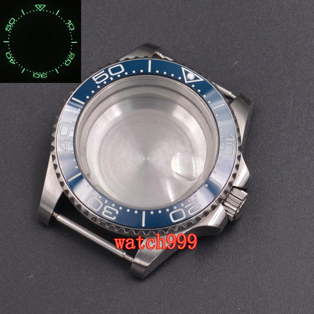 40mm parnis saphir verre lumineux en céramique lunette en acier boîtier de montre fit ETA 2824 2836 DG2813 miborough 8215 mouvement