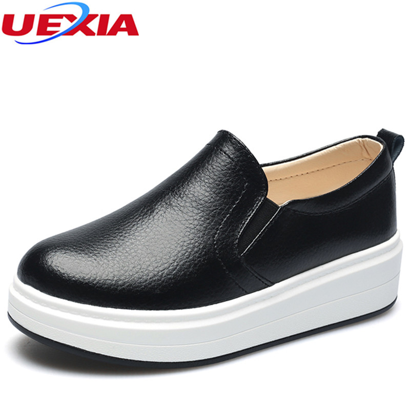 UEXIA Women Flats Shoes Leather Slip-on Round Toe Increase Muscle Sole Ladies casual Shoes Comfortable Soft Shoes Female Fall uexia women winter warm fur plush loafers fashion round toe slip on ladies casual flats shoes women s bow tie ladies footwear