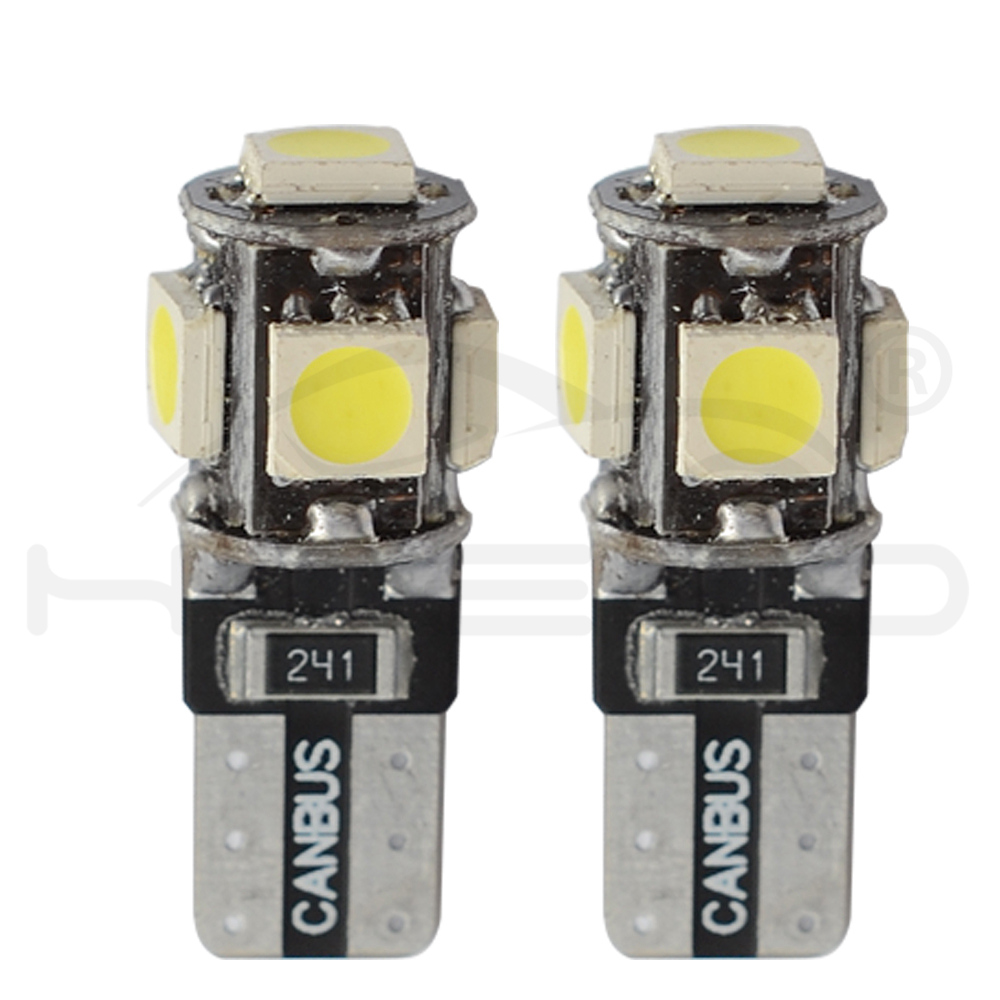 Hviero T10 Canbus White Blue Red 5smd Car Light W5w 194 168 Error Bulbs DC 12V Wedge Lamp Parking Bulb Band Decoder Sign Trun Light