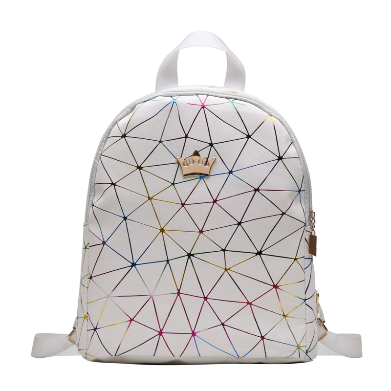 Luxury Backpack Beautiful Geometric Pattern Design Women Mini Backpack PU Leather Shoulder School Rucksack Ladies Girls Bag
