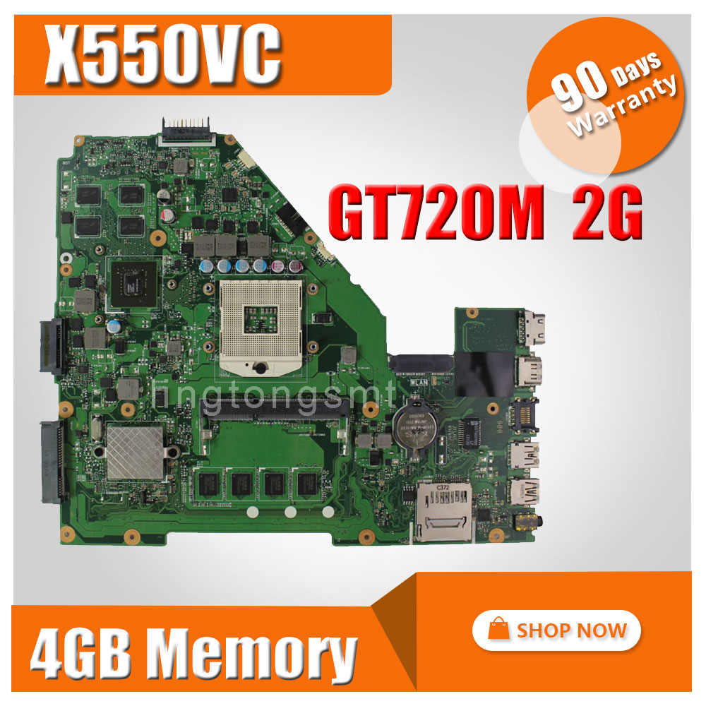 For ASUS R510V X550V motherboard X550VC REV3.0 Mainboard Graphic GT720 2G RAM 4g Memory On Board HM76 PGA 989 100% tested щетка массажная dessange сверхкомпактная цвет леопардовый