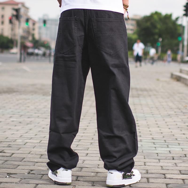 Herre Streetwear Casual Loose Fit Sort Jeans Mandlige Hip Hop Jeans - Herretøj - Foto 4