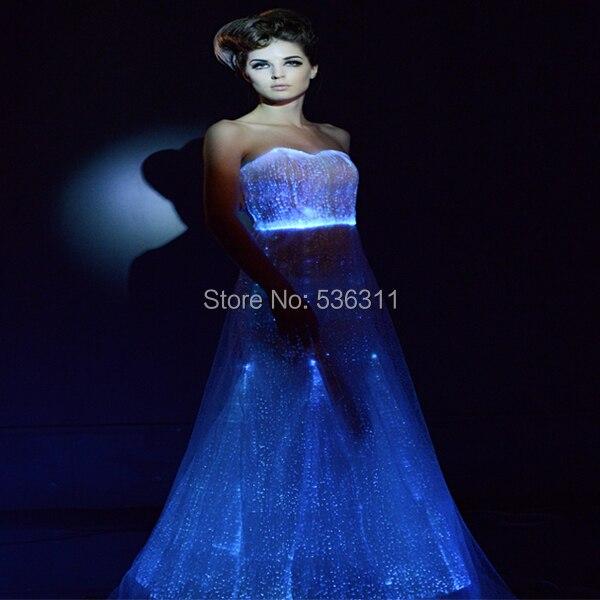 2017 линия Длина до пола чисто белый волоконно-оптический световой платье сексуальные костюмы LED Vestidos Свадебная вечеринка платье