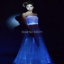 ウェディングパーティードレス vestidos led ライン床長純白の繊維光学発光ドレスセクシーな衣装
