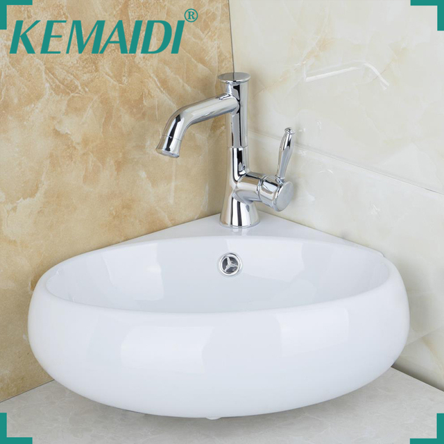 KEMAIDI Bathroom Ceramic Basin Sink Faucet Set Bacia Banheiro Modern - Bathroom sink set up
