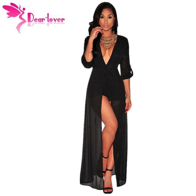 Dear Lover New Autumn 2015 Black Half-sleeve V Neck Chiffon Maxi Rompers Women Jumpsuit Women Clothes Vestido de festa  LC60458