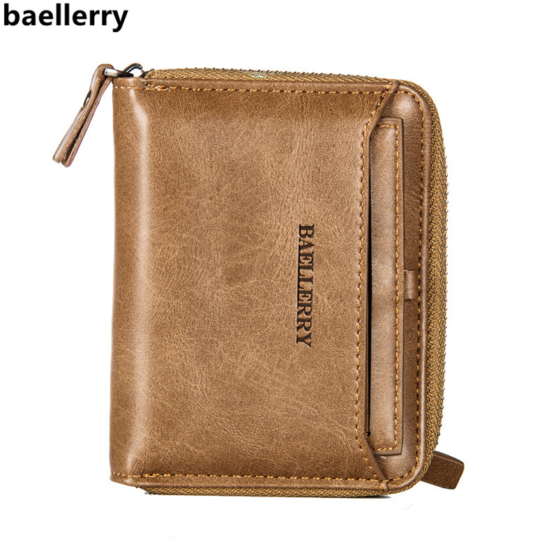 Baellerry Brand Wallet Men Wallets Short PU Leather Male Wallet Purse Card Holder Fashion Man Zipper Wallet Carteira Masculina