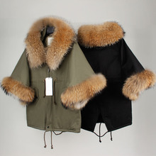 Maomaokong Women Winter Army Green Casual Overcoat Raccoon Large Fur Collar Flare Sleeve Cloak Cotton-padded Outerwear