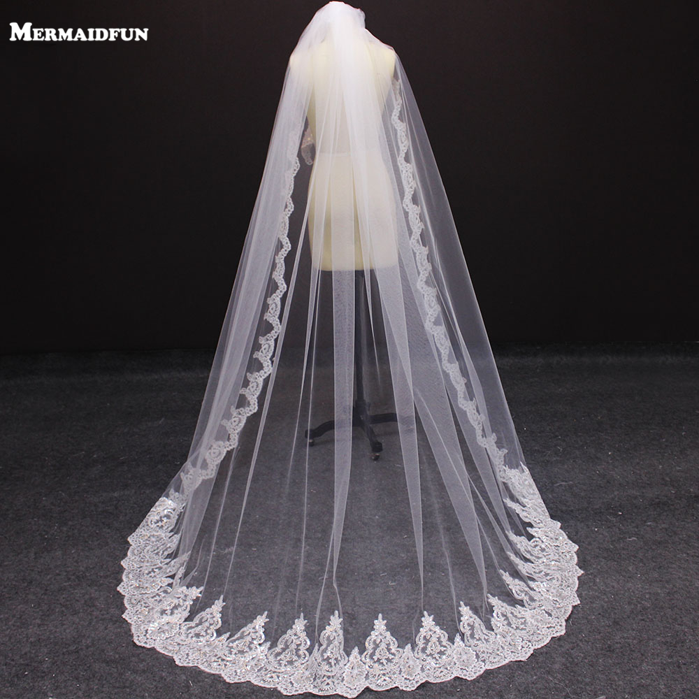 New 2 Meters One Layer Bling Bling Sequins Lace Edge Wedding Veil With Comb 2 M White Ivory Bridal Veil