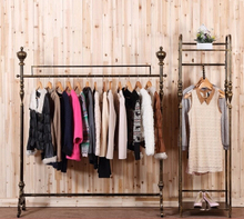 Show, wrought iron clothes hangers to hang shelves fall the ground plane
