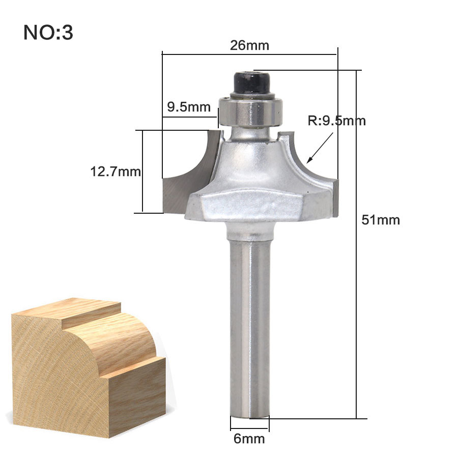 Image 5 - 1pcs/set High Quality Roundover Bit with Bearing 6mm shank Dovetail Router Bit Cutter wood working-in Milling Cutter from Tools