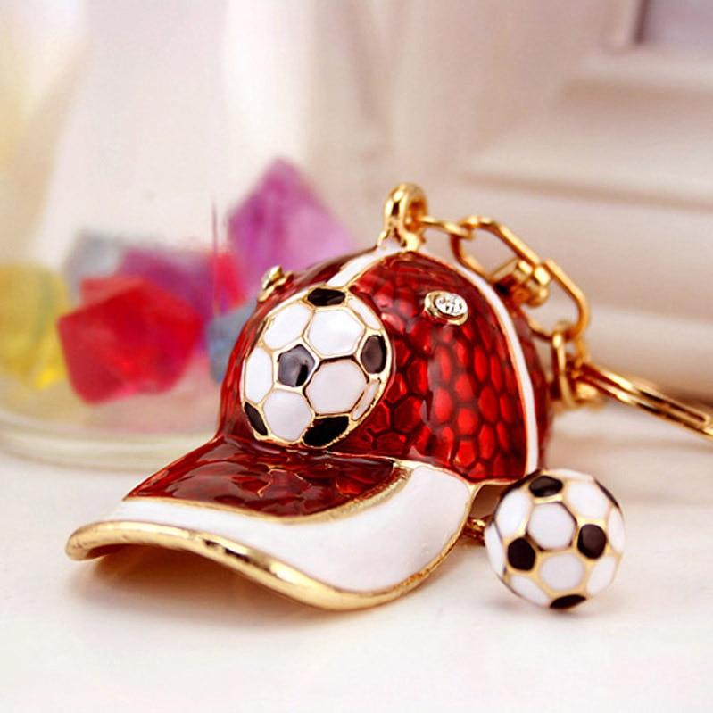 Jewelry & Accessories Disciplined Football Cap Keychain Enamel Metal Crystal Fashion Hot Purse Bag Buckle Handbag Pendant For Car Keyring Holder Dk237