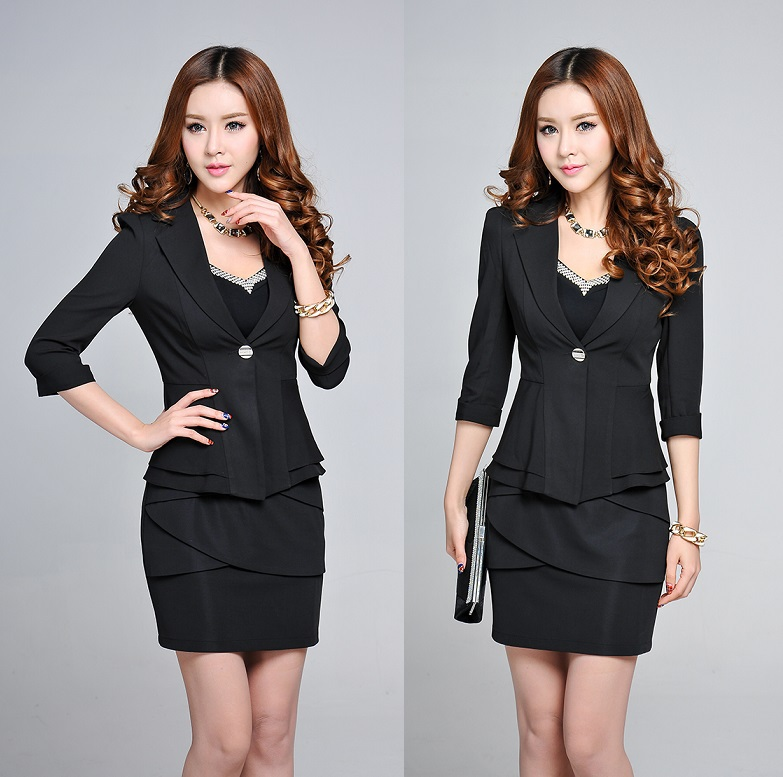 New elegant black uniform design 2015 spring summer for Office uniform design 2015