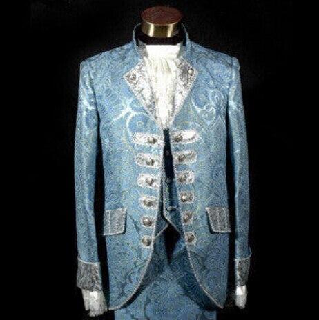 Королевский дворец новый мужской костюмы костюм платье prince производительности платье синий розовый