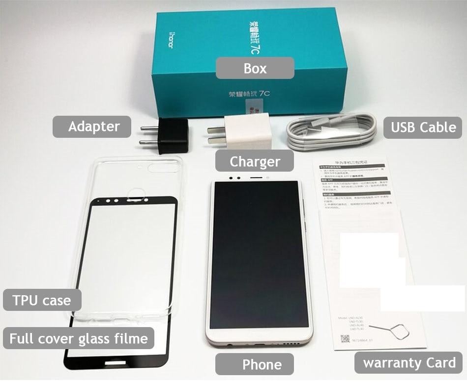 Оригинальный huawei Honor 7C 4 ГБ 32 ГБ 5,99 дюймов Snapdragon 450 Octa Core спереди 8.0MP двойной сзади Камера 3000 мАч отпечатков пальцев 3 слота