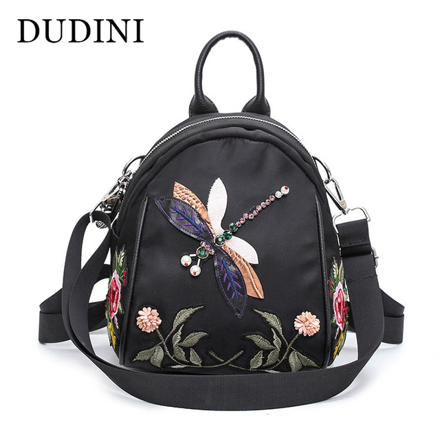 52ad32ce36 DUDINI Spring And Summer New Shoulder Bag Korean Handmade Diamond 3D  Dragonfly Fashion Backpacks Flower Embroidery