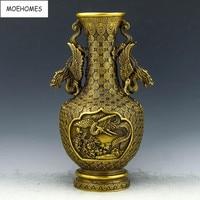 Chinese Vintage Brass fengshui longevity red crowned crane Vase vintage home decor metal handicraft