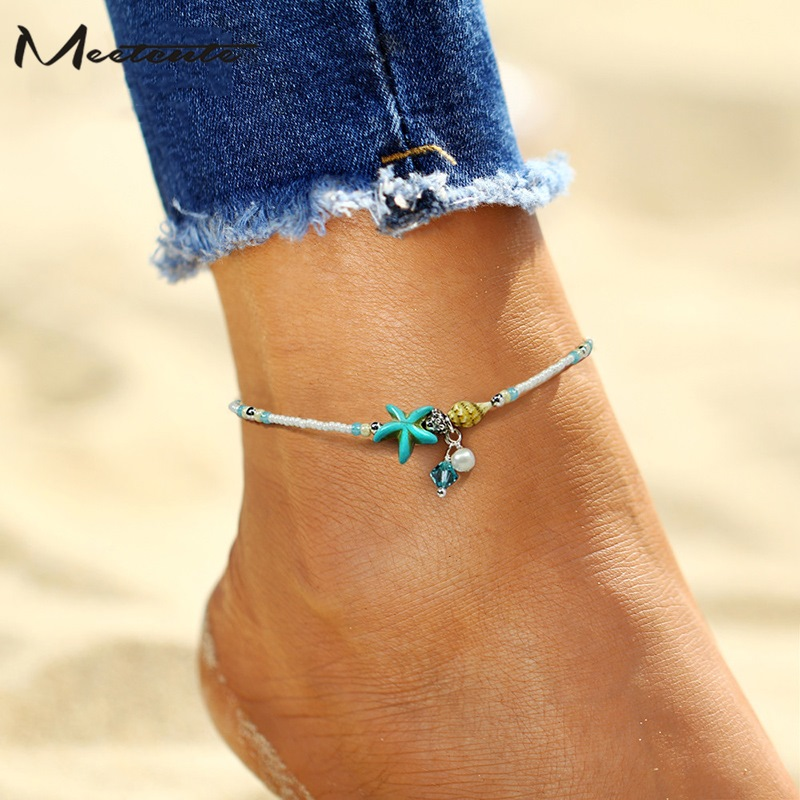 Meetcute Bohemian Small Simulated Pearl Starfish Anklet Foot Chain Bracelet On The Leg For Women Summer Beach Jewelry