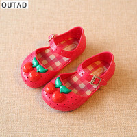 Lovely Anti Slip Jelly Sandals Baby Boys Girls Shoes Breathable Wear Resistant Hole Toddler With Cherry