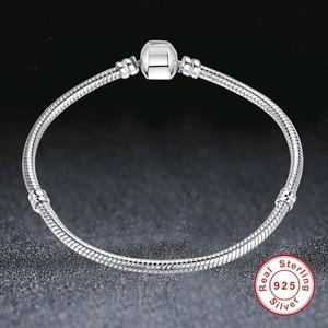 Image 5 - Eleshe Authentieke 100% 925 Sterling Silver Snake Chain Armband Fit Originele Merk Armbanden & Bangles Voor Vrouwen Diy Sieraden
