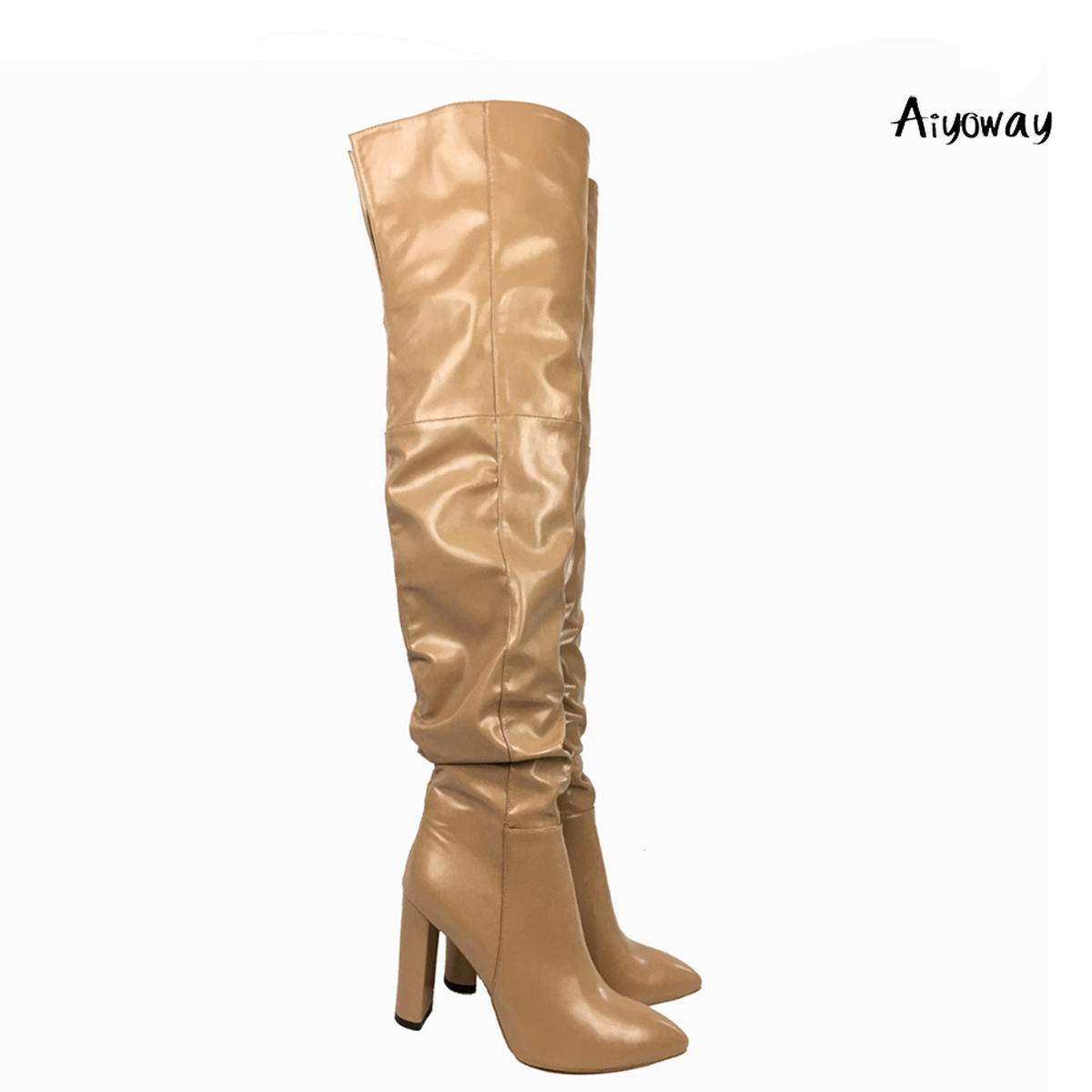 Aiyoway Fashion Women Ladies Pointed Toe High Heel Over The Knee Boots Block Heel Slouchy Winter Dress Shoes Beige US Size 5~15Aiyoway Fashion Women Ladies Pointed Toe High Heel Over The Knee Boots Block Heel Slouchy Winter Dress Shoes Beige US Size 5~15