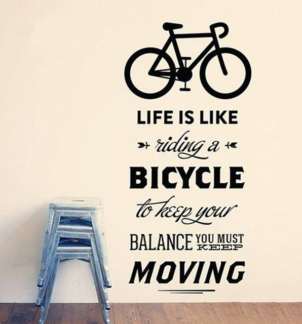 Life Is Like Riding A Bicycle Quote Bike Wall Sticker Cycling Words Vinyl Bike  Wall Art