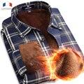 Langmeng 2016 Супер теплые Фланелевые рубашки Мужчины Тонкий С Длинным Рукавом Человек Вскользь Клетчатую Рубашку Мужчины Теплая рубашка сорочка homme