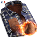 Langmeng 2016 Super warm  Flannel shirts Male Slim Long Sleeve Man Casual Plaid Shirt Men Warm dress Shirt chemise homme