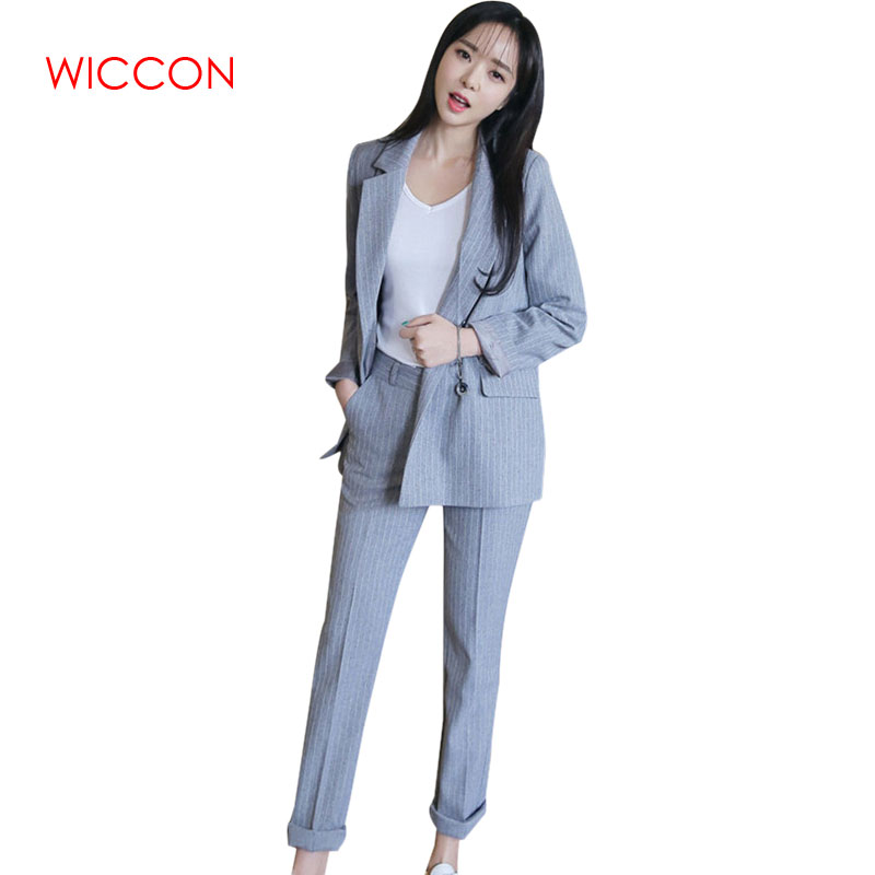 Double Breasted Striped Pants Suits Zipper Pant Work 2 Piece Sets Blazer Office Lady Suits Women Outfits Spring Black Wine Red