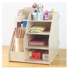 Office desktop storage box Office supplies document rack creative bookshelf data rack wooden book storage rack bookends