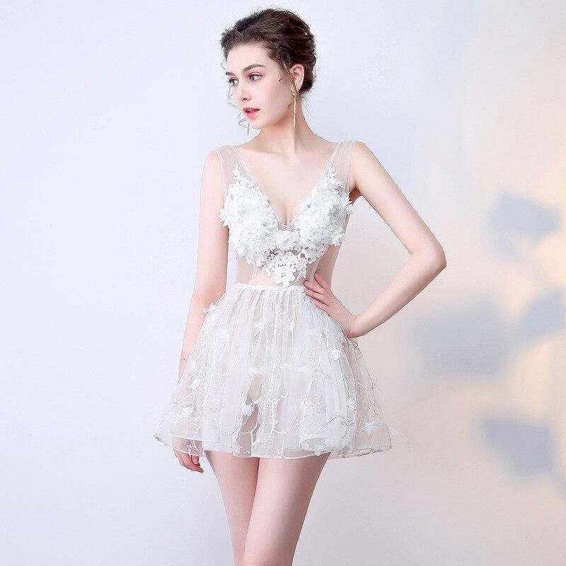 V-neck See Through Flower Beading Lace Vestidos De Festa Backless A-line Mini   Cocktail     Dresses   Short Evening Party Gowns