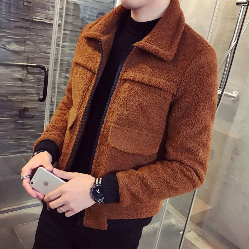 Winter Men's New Cotton-padded Jacket Coat And Small Jacket Youth Fashion Personality Fashion Fur Coat Men's Slim Short Thick