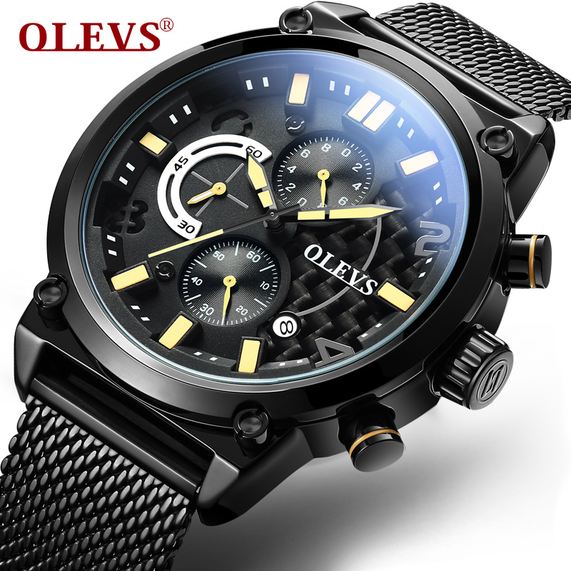 OLEVS Top Luxury Brand Sports Quartz Watches Business Men Mesh Steel Strap Male Clock Chronograph Wristwatches Gifts G6818 xinge top brand luxury leather strap military watches male sport clock business 2017 quartz men fashion wrist watches xg1080