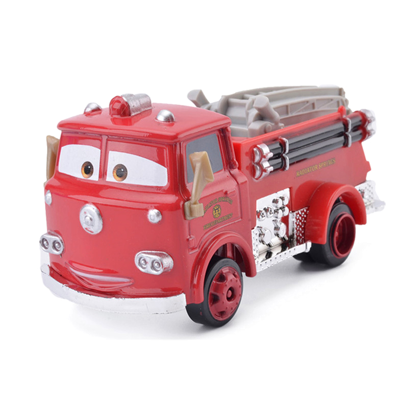 Disney Pixar Cars 2 3 Red Fire Truck Rescue Car Set Toys Lightning Mcqueen Jackson Storm 1:55 Diecast Vehicle Metal Alloy Model