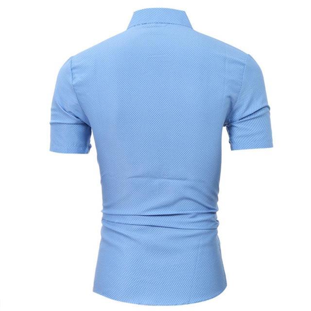 Для мужчин s Повседневное футболка с коротким рукавом Бизнес тонкая рубашка в горошек Блузка Топ Для мужчин рубашка короткий рукав хлопок # GH30 1