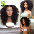 Short Human Hair Bob Wigs Brazilian Kinky Curly Full Lace Wigs With Baby Hair #1B Color Glueless Lace Front Wigs For Black Women