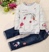 Hot Selling Kids Clothes Set 2019 Autumn Baby Girl Cute Floral Long-sleeve Shirt+jeans Two Piece FZ9026