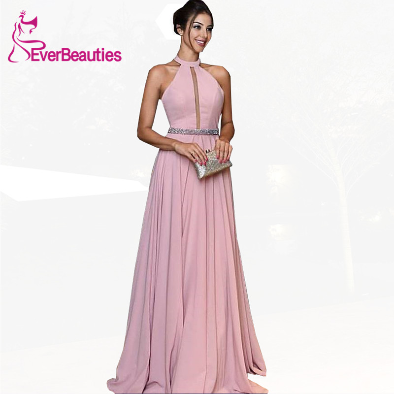 Evening     Dress   Long Chiffon Crystal Halter Neck Floor-Length Formal Party Gowns   Evening   Gowns Vestido De Festa Longo