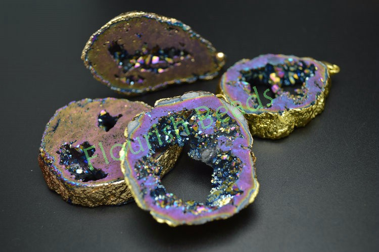 Set Freedom Shape Titanium Plating Rose Gold Edge Slab Beads Pendants Necklace,Top Drilled Geode Nugget Druzy Slice Jewelry Crafts Wholesale